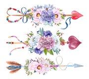 Waterverfpijlen met bloemboeketten dat worden geplaatst vector illustratie