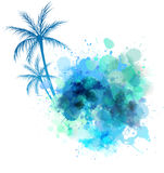 Waterverfplons met palm Royalty-vrije Stock Foto