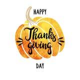 Waterverfpompoen en met de hand geschreven inschrijvings Gelukkig Thanksgiving day Het kan voor prestaties van het ontwerpwerk no Stock Foto