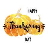 Waterverfpompoenen en met de hand geschreven inschrijvings Gelukkig Thanksgiving day Het kan voor prestaties van het ontwerpwerk  Stock Foto's