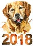 Waterverfportret van golden retriever met jaar 2018 Stock Afbeelding
