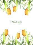 Waterverfprentbriefkaar met gele tulpenbloemen stock illustratie