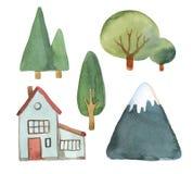 Waterverfreeks bomen, huis en blauwe die bergen op wh worden geïsoleerd Stock Afbeelding