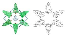 Waterverfreeks bomen van kind kleurrijke Kerstmis vector illustratie