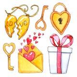 Waterverfreeks elementen voor de dag van Valentine ` s stock foto's
