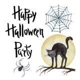 Waterverfreeks elementen voor Halloween-partij Royalty-vrije Stock Afbeeldingen