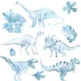 Waterverfreeks groot, dinosaurussen en tropische installaties stock illustratie