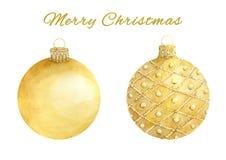 Waterverfreeks Kerstmis gouden die ballen op witte achtergrond wordt geïsoleerd stock illustratie