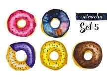 Waterverfreeks van gebraden donuts met een laag bedekt met glans royalty-vrije illustratie