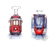 Waterverfreeks van twee trams van Istanboel: nostalgisch en nieuw royalty-vrije illustratie