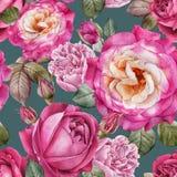 Waterverfrozen en pioenen Naadloos patroon Royalty-vrije Stock Afbeeldingen