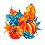 Waterverfsamenstelling met de herfstbladeren Boeket royalty-vrije illustratie