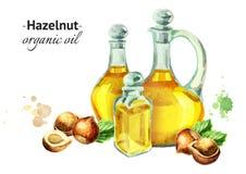 Waterverfsamenstelling met flessen van Hazelnootolie en noten stock illustratie