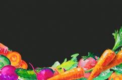 Waterverfsamenstelling met groenten wordt geplaatst die Stock Foto