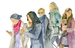 Waterverfschets Een groep jonge vrouwen in de winterkleren gaat royalty-vrije stock foto