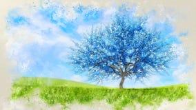 Waterverfschets van blauwe kersenboom in bloesem royalty-vrije stock afbeelding