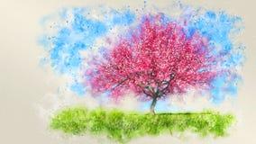 Waterverfschets van enige bloeiende kersenboom royalty-vrije stock fotografie