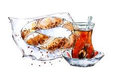 Waterverfschets van Turks ongezuurd broodje 'simit 'en traditionele thee vector illustratie