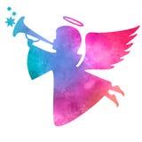 Waterverfsilhouet van een engel Het schilderen van de waterverf op witte achtergrond Stock Foto