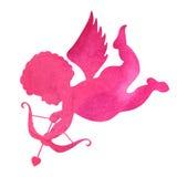 Waterverfsilhouet van een engel waterverf het schilderen op witte B Stock Foto's