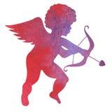 Waterverfsilhouet van een engel waterverf het schilderen op witte B Stock Afbeelding