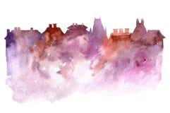 Waterverfsilhouet van stad stock illustratie