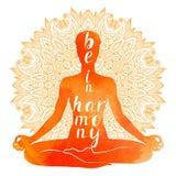 Waterverfsilhouet van Yogaasana, ontspanning en meditatie Stock Foto's