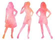 Waterverfsilhouetten van vrouwen stock illustratie