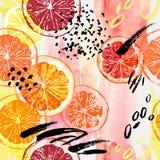 Waterverfsinaasappel, citroen, grapefruit naadloos patroon royalty-vrije illustratie