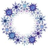 Waterverfsneeuwvlokken om kadermalplaatje royalty-vrije illustratie