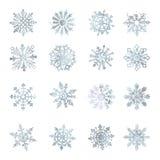 Waterverfsneeuwvlokken, VECTOR, ster, grafisch symbool, kristal, decoratie, Stock Foto