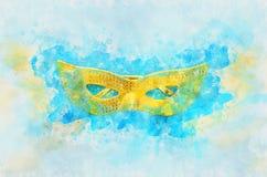 waterverfstijl en abstract beeld van achtergrond van het maskerade de Venetiaanse masker Royalty-vrije Stock Afbeeldingen