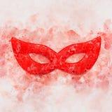 waterverfstijl en abstract beeld van achtergrond van het maskerade de Venetiaanse masker Royalty-vrije Stock Afbeelding