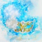 waterverfstijl en abstract beeld van achtergrond van het maskerade de Venetiaanse masker Stock Afbeelding