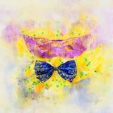 waterverfstijl en abstract beeld van achtergrond van het maskerade de Venetiaanse masker Royalty-vrije Stock Foto's