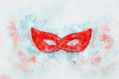 waterverfstijl en abstract beeld van achtergrond van het maskerade de Venetiaanse masker Stock Fotografie