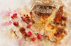 waterverfstijl en abstract beeld van mooie fee met vleugels die in hout zitten Stock Afbeeldingen