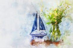 waterverfstijl en abstract beeld van zeevaartconcept met oude boot Royalty-vrije Stock Afbeeldingen