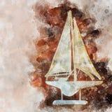 waterverfstijl en abstract beeld van zeevaartconcept met oude boot Stock Afbeelding