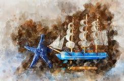 waterverfstijl en abstract beeld van zeevaartconcept met oude boot Royalty-vrije Stock Foto