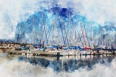waterverfstijl en abstract beeld van zeevaartconcept met oude boot Royalty-vrije Stock Fotografie