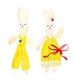 Waterverfstuk speelgoed konijntjes Stock Foto's