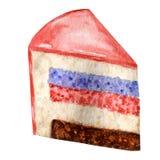 Waterverfstuk van gelaagde cake op witte achtergrond Hand getrokken cakeplak geïsoleerde illustratie Zoet dessert met stock illustratie