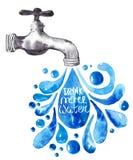 Waterverftapkraan met waterdalingen Stock Afbeelding
