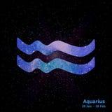 Waterverfteken van de dierenriem Waterman op ster ruimteachtergrond Stock Afbeeldingen