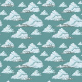 Waterverftekening, naadloos patroon, blauwe wolken op een donkere achtergrond, fijn patroon Royalty-vrije Stock Foto's