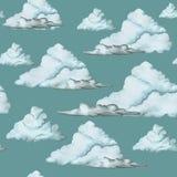 Waterverftekening, naadloos patroon, blauwe wolken op een donkere achtergrond, groot patroon Stock Foto's