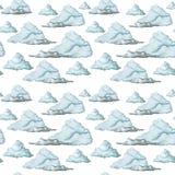Waterverftekening, naadloos patroon, blauwe wolken op witte achtergrond, fijn patroon Stock Foto