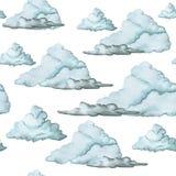 Waterverftekening, naadloos patroon, blauwe wolken op witte achtergrond, groot beeld Stock Afbeeldingen