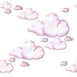 Waterverftekening, roze wolken, naadloos patroon, achtergrond Stock Foto's